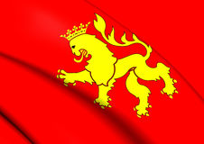 Flag of Zaragoza City, Spain. 3D Flag of Zaragoza City, Spain. Close Up Royalty Free Stock Image