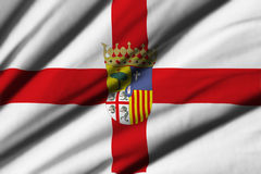 Flag of Zaragoza. High detailed waving flag of different countries from all over the world Stock Photo