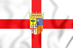 Flag of Zaragoza Province, Spain. 3D Illustration. 3D Flag of Zaragoza Province, Spain. 3D Illustration Stock Images