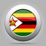 Flag of Zimbabwe. Metal gray round button. stock illustration