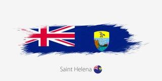 Flaga Świątobliwy Helena, grunge abstrakta muśnięcia uderzenie na szarym tle royalty ilustracja