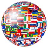 Flaga światowa kula ziemska fotografia stock