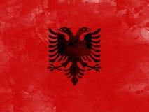 Flaga Albania akwareli farby muśnięciem, grunge styl Zdjęcia Royalty Free