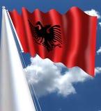 Flaga Albania jest czerwoną flaga z sylwetkowym czarnym przewodzącym orłem w centrum T obraz stock