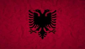 Flaga Albania z skutkiem zmięty papier i grunge Obraz Stock