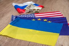 Flaga America, Europe i Ukraine, Obrazy Royalty Free