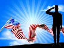 Flaga Amerykańska żołnierza salutu Patriotyczny tło ilustracja wektor