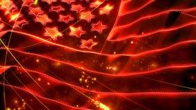 Flaga Amerykańska blasku 4K Czerwona pętla zbiory wideo