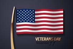 Flaga Amerykańska i Złoci Dekoracyjni elementy Fotografia Stock