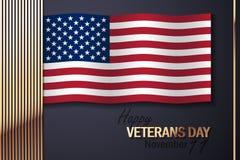 Flaga Amerykańska i Złoci Dekoracyjni elementy Obraz Royalty Free