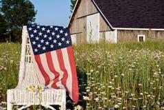 Flaga amerykańska na krześle Zdjęcia Royalty Free