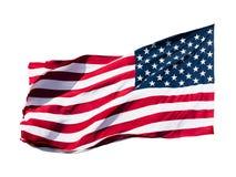 Flaga amerykańska nad biały tłem Zdjęcie Royalty Free