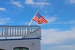 Flaga amerykańska przechylająca Obrazy Royalty Free