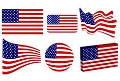 flaga amerykańska set Obrazy Royalty Free