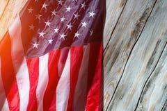 Flaga amerykańska w świetle słonecznym Obrazy Stock