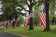 Flaga amerykańskie wzdłuż pobocza Obrazy Stock