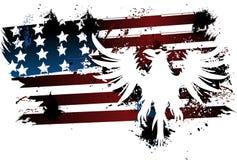 Flaga amerykańskiej i orła grunge royalty ilustracja