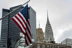 Flaga amerykańskiej Miasto Nowy Jork usa linia horyzontu Duży Apple Zdjęcia Royalty Free