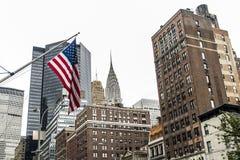 Flaga amerykańskiej Miasto Nowy Jork usa linia horyzontu Duży Apple Obraz Royalty Free