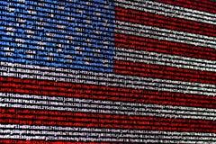 Flaga amerykańskiej składać się z komputerowy kod Zdjęcie Royalty Free
