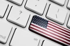 Flaga amerykańska na komputerowym kluczu Obrazy Stock