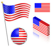 Flaga amerykańska set Fotografia Royalty Free