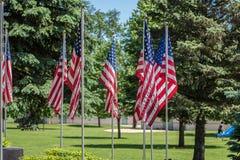 Flaga amerykańskie na pokazie przy wojennym pomnikiem w plenerowym parku Zdjęcia Royalty Free