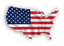 flaga amerykańskiej mapa Zdjęcia Stock
