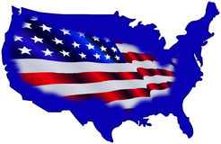 flaga amerykańskiej mapa Obraz Royalty Free