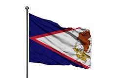 Flaga amerykanina Samoa falowanie w wiatrze, odosobniony biały tło obrazy stock