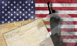 Flaga amerykańska i patriotyczni symbole Obraz Stock