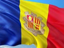 Flaga Andorra falowanie w wiatrze przeciw g??bokiemu niebieskiemu niebu Wysokiej jako?ci tkanina zdjęcia stock