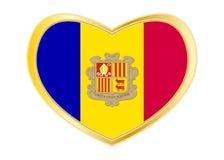 Flaga Andorra w kierowym kształcie, złota rama royalty ilustracja