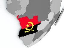 Flaga Angola na mapie Obrazy Stock