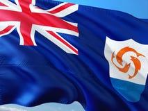 Flaga Anguilla falowanie w wiatrze przeciw g??bokiemu niebieskiemu niebu Wysokiej jako?ci tkanina obraz royalty free