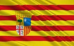 Flaga Aragon, Hiszpania ilustracji