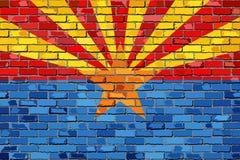 Flaga Arizona na ściana z cegieł Zdjęcia Royalty Free