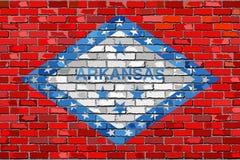 Flaga Arkansas na ściana z cegieł Zdjęcia Stock