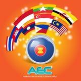 Flaga Asean wspólnoty gospodarczej AEC 03 ilustracji