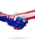 Flaga Australia, Austria kraje, partnerstwo przyjaźń, krajowa sport drużyna Obrazy Royalty Free