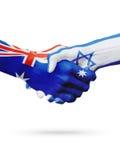 Flaga Australia, Israelcountries, partnerstwo przyjaźń, krajowa sport drużyna Zdjęcie Stock