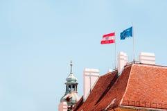 Flaga Austria i flaga Europejski zjednoczenie na dachu flagi Obraz Stock
