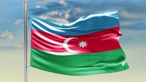 Flaga Azerbejdżan na chmurnym niebie patriotyzm obraz stock