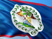 Flaga Belize falowanie w wiatrze przeciw g??bokiemu niebieskiemu niebu Wysokiej jako?ci tkanina zdjęcia stock