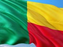 Flaga Benin falowanie w wiatrze przeciw g??bokiemu niebieskiemu niebu Wysokiej jako?ci tkanina zdjęcie stock
