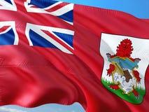 Flaga Bermuda falowanie w wiatrze przeciw g??bokiemu niebieskiemu niebu Wysokiej jako?ci tkanina fotografia stock