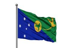Flaga Bożenarodzeniowej wyspy falowanie w wiatrze, odosobniony biały tło ilustracja wektor