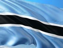 Flaga Botswana falowanie w wiatrze przeciw g??bokiemu niebieskiemu niebu Wysokiej jako?ci tkanina zdjęcia stock