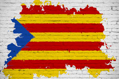 Flaga Catalonia kolor żółty, czerwony lampas i gwiazda z akwareli pluśnięcia skutkiem na białym ściana z cegieł tle, krajowy cata Fotografia Stock