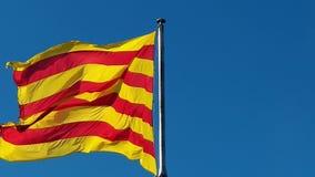 Flaga Catalonia Sanyor lata nad Barcelona zbiory